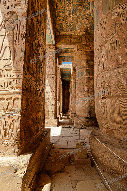 Columns and Porticos of the second court at Medinet Habu Temple