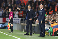 Brighton Manager, Chris Hughton and Queens Park Rangers manager Ian Holloway during the EFL Sky Bet Championship match between Queens Park Rangers and Brighton and Hove Albion at the Loftus Road Stadium, London, England on 7 April 2017.