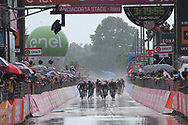 Final sprint in heavy rain during stage 17 of the Giro D'Italia, Iseo Italy on 23 May 2018. Picture by Graham Holt.