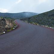 The road to Piton de la Fournaise, a volcano, in Reunion Island, France