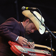 Junior Brown plays during the EMP opening in Seattle on 6-26-2000.  EMP is the music museum built in Seattle by Microsoft's Paul Allen.