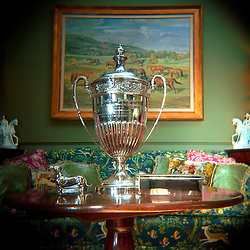 Charlottesville, Virginia - A trophy graces the coffee table in a sitting room in the historic Keswick Horse Farm in Charlottesville, VA.