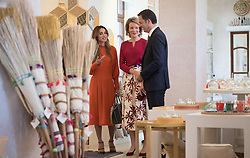 October 25, 2016 - Amman, JORDAN - Queen Rania of Jordan, Queen Mathilde of Belgium and Vice-Prime Minister and Minister of Cooperation Development, Digital Agenda, Telecom and Postal services Alexander De Croo pictured during a visit to the Jordan River Foundation showroom on the third day of a humanitarian work visit of the Belgian Queen and the Belgian Federal Minister of Cooperation Development to Jordan, on Tuesday 25 October 2016, in Amman, Jordan. BELGA PHOTO BENOIT DOPPAGNE (Credit Image: © Benoit Doppagne/Belga via ZUMA Press)