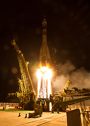 The Soyuz MS-05 rocket is launched with Expedition 52 flight engineer Sergei Ryazanskiy of Roscosmos, flight engineer Randy Bresnik of NASA, and flight engineer Paolo Nespoli of ESA (European Space Agency), Friday, July 28, 2017 at the Baikonur Cosmodrome in Kazakhstan. Ryazanskiy, Bresnik, and Nespoli will spend the next four and a half months living and working aboard the International Space Station.  Photo Credit: (NASA/Joel Kowsky)
