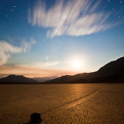 Moon setting behind the Racetrack Playa- Death Valley N.P.