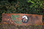 A sign outside the wildlife protection camp set up by anti-HS2 activists in ancient woodland at Jones' Hill Wood is pictured on 5 October 2020 in Aylesbury Vale, United Kingdom. The Jones' Hill Wood camp, one of several such protest camps set up along the route of the £106bn HS2 high-speed rail link in order to resist the controversial infrastructure project, is currently being evicted by National Eviction Team bailiffs working on behalf of HS2 Ltd.