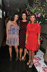 Left to right, JANINA WOLKOW owner of Sumosan, MARINA LUWAWIN and their mother LILIJA WOLKOW at a party to celebrate the 10th anniversary of the restaurant Sumosan, Albemarle Street, London on 28th May 2012.