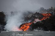 a'a lava enters the ocean in Kapoho, Hawaii, where a lava river, emanating from Fissure 8 of the Kilauea Volcano east rift zone near Pahoa meets the sea just south of Cape Kumukahi, Kapoho, Puna District, Hawaii Island ( the Big Island ), Hawaiian Islands, U.S.A. ( Pacific Ocean )