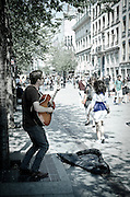 Street musician in downtown, Lyon, France (UNESCO World Heritage Site)