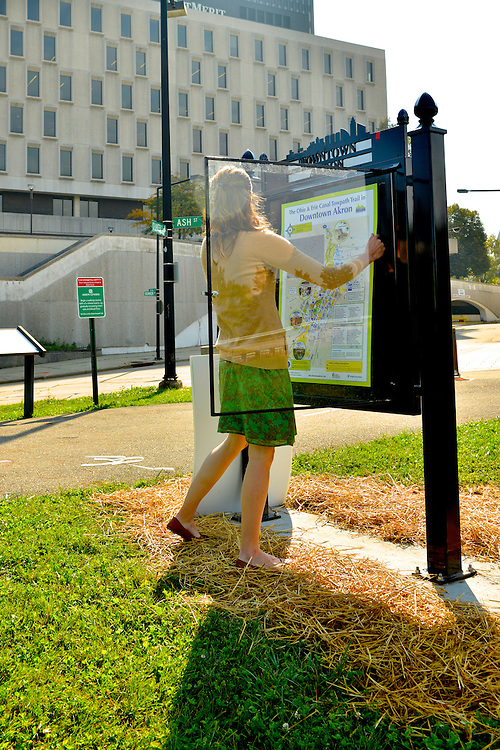 New trail maps being installed along the Ohio & Erie Canal Towpath Trail in Akron.