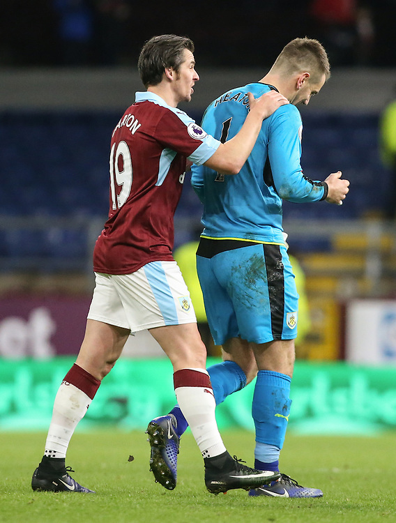 Burnley's Joey Barton gives Tom Heaton a pat on the back<br /> <br /> Photographer Alex Dodd/CameraSport<br /> <br /> The Premier League - Burnley v Southampton - Saturday 14th January 2017 - Turf Moor - Burnley<br /> <br /> World Copyright © 2017 CameraSport. All rights reserved. 43 Linden Ave. Countesthorpe. Leicester. England. LE8 5PG - Tel: +44 (0) 116 277 4147 - admin@camerasport.com - www.camerasport.com
