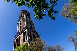 22-04-2018 NED: Provincie Utrecht in beeld, Utrecht<br /> De Dom van Utrecht is een markante gotische kerk in het midden van de Nederlandse stad Utrecht. De kerk werd vanaf 1254 gebouwd als voortzetting van de romaanse kathedraal van het rooms-katholieke bisdom Utrecht en was gewijd aan Sint-Maarten. Sinds 1580 is de kerk protestants. De 112,32 meter hoge Domtoren is de hoogste kerktoren van Nederland en het hoogste gebouw van Utrecht. Zadelstraat