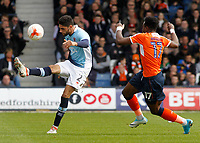 Blackpool's Kelvin Mellor clears away while under pressure from Luton Town's Pelly Ruddock<br /> <br /> Photographer David Shipman/CameraSport<br /> <br /> The EFL Sky Bet League Two - Luton Town v Blackpool - Saturday 1st April 2017 - Kenilworth Road - Luton<br /> <br /> World Copyright © 2017 CameraSport. All rights reserved. 43 Linden Ave. Countesthorpe. Leicester. England. LE8 5PG - Tel: +44 (0) 116 277 4147 - admin@camerasport.com - www.camerasport.com