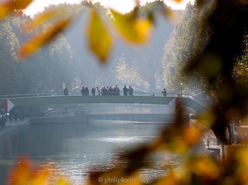 Tourists at the Canal Saint Martin, Paris, France
