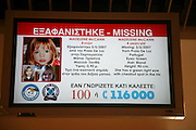 Madeleine McCann electronic airport missing person notice, Rhodes, Greece