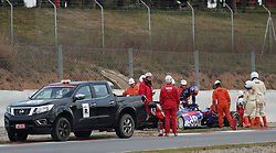 Toro Rosso's Alexander Albon after spinning on his opening lap during day two of pre-season testing at the Circuit de Barcelona-Catalunya.