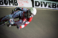 #49 (NYHAUG Tory) CAN wins his heat at the UCI BMX Supercross World Cup in Manchester, UK