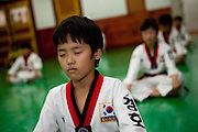 Daegu/South Korea, Republic Korea, KOR, 07.09.2010: Training at a Taekwondo school for children in Daegu. Taekwondo is a Korean martial art and the national sport of South Korea.
