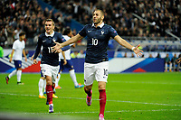 Forward Karim Benzema of France celebrates scoring the 1st goal for his team during the International friendly game 2014 football match between France and Portugal on October 11, 2014 at Stade de France in Saint Denis, France. Photo Jean Marie Hervio / Regamedia / DPPI