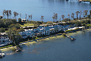An aerial view of the waterfront home of basketball player Shaquille O'Neal in the exclusive, gated community of Isleworth in Windermere, Florida.