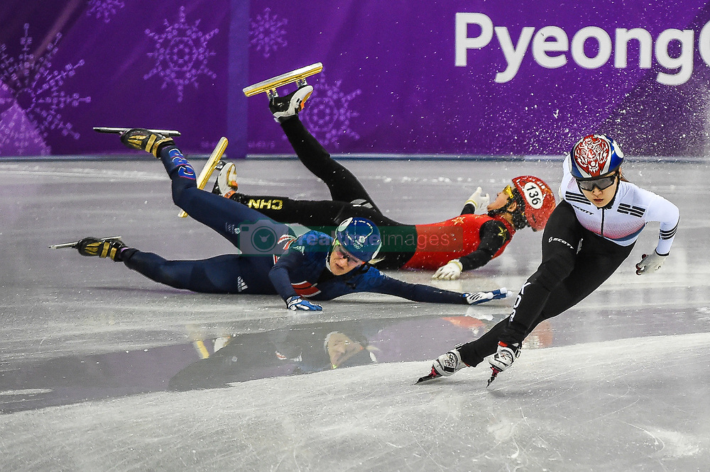 February 17, 2018 - Pyeongchang, Gangwon, South Korea - Choi Minjeong of South Korea, Li Jinyu of China and Elise Christie of Great Britain competing in 1500 meter speed skating for women at Gangneung Ice Arena, Gangneung, South Korea on 17 February 2018. (Credit Image: © Ulrik Pedersen/NurPhoto via ZUMA Press)