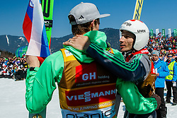 Robert Kranjec (SLO) and Peter Prevc (SLO) during medal ceremony at the Ski Flying Hill Individual Competition at Day 4 of FIS Ski Jumping World Cup Final 2016, on March 20, 2016 in Planica, Slovenia. Photo by Grega Valancic / Sportida
