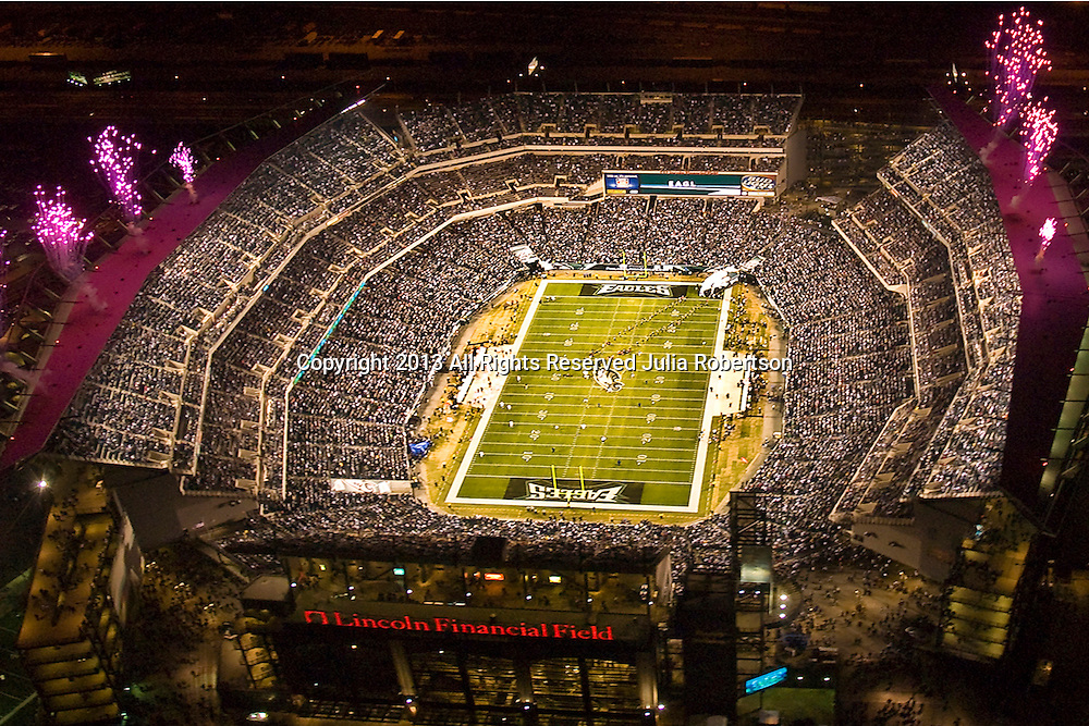 Aerial  view of Philadelphia Eagles vs Cleveland Browns at Lincoln Financial Field  Monday Night Game during Pregame Ceremony. (AP Photo/Julia Robertson)