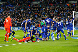 Chelsea celebrate after winning the Capital One Cup Final - Photo mandatory by-line: Rogan Thomson/JMP - 07966 386802 - 01/03/2015 - SPORT - FOOTBALL - London, England - Wembley Stadium - Chelsea v Tottenham Hotspur - Capital One Cup Final.