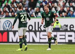 WOLFSBURG, Oct. 21, 2018  Wolfsburg's Wout Weghorst (R) celebrates scoring during a German Bundesliga match between Wolfsburg and Bayern Munich, in Wolfsburg, Germany, on Oct. 20, 2018. Bayern Munich won 3-1. (Credit Image: © Xinhua via ZUMA Wire)