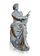 Roman stuate from the time of Hadrian of the muse Tersichore, inv 308, Vatican Museum Rome, Italy,  white background ..<br /> <br /> If you prefer to buy from our ALAMY STOCK LIBRARY page at https://www.alamy.com/portfolio/paul-williams-funkystock/greco-roman-sculptures.html . Type -    Vatican    - into LOWER SEARCH WITHIN GALLERY box - Refine search by adding a subject, place, background colour, museum etc.<br /> <br /> Visit our CLASSICAL WORLD HISTORIC SITES PHOTO COLLECTIONS for more photos to download or buy as wall art prints https://funkystock.photoshelter.com/gallery-collection/The-Romans-Art-Artefacts-Antiquities-Historic-Sites-Pictures-Images/C0000r2uLJJo9_s0c