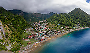 the Village of  Soufrière, on the extreme south of the island.