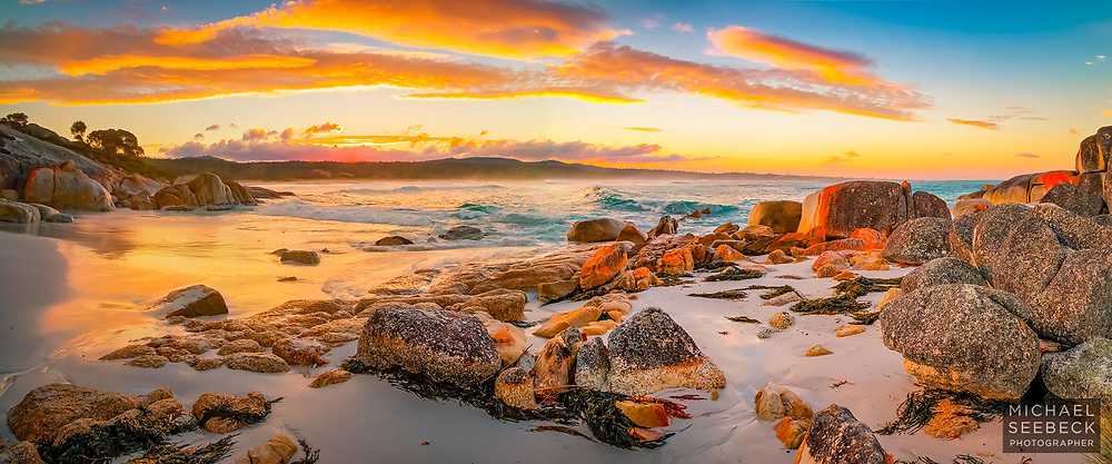 Sunset over Sloop Beach in the Bay of Fires of North-West Tasmania.<br /> <br /> Limited Edition Print; Edition of 125