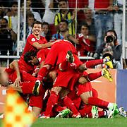 Turkey's players celebrates his goal during their FIFA World Cup 2014 qualifying soccer match Turkey betwen Estonia at Sukru Saracoglu stadium in Istanbul September 11, 2012. Photo by TURKPIX