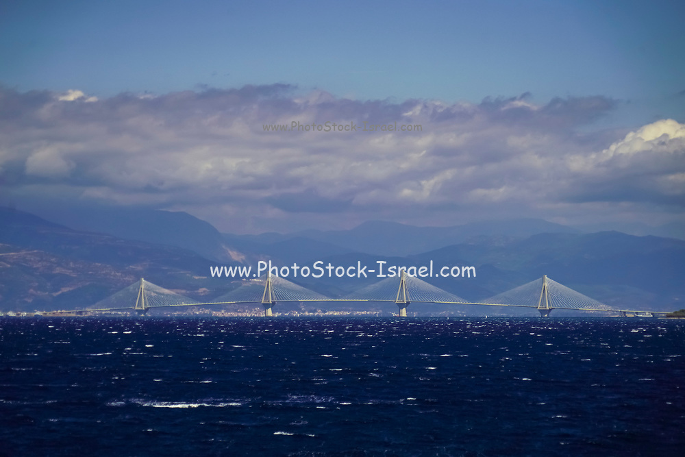 The port town of Patras, Peloponnese, Greece. The Rion-Antirion Bridge, Gefira Charilaos Trikoupis, in the background