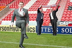 From left to right Phil Crawley(Solicitor at Atteys) Charles Glover CEO Atteys  and Andrew Witham Doncaster Rovers ..www.pauldaviddrabble.co.uk..13 February 2012 -  Image © Paul David Drabble