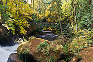 The Sandstone Bridge near Whatcom Falls and spanning Whatcom Creek was built in 1930 from Chuckanut sandstone as part of the Roosevelt administrations Works Progress Administration program.