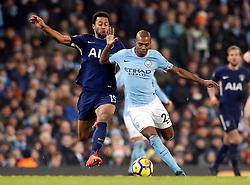 Tottenham Hotspur's Mousa Dembele (left) and Manchester City's Fernandinho battle for the ball