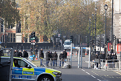 © Licensed to London News Pictures. 08/11/2020. London, UK. Police Officers guard fencing around Whitehall ahead of todays Remembrance Sunday Cenotaph Service .  Photo credit: George Cracknell Wright/LNP Remembrance Sunday Cenotaph Service Preparations