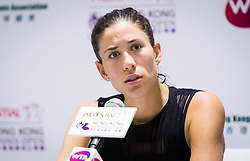 October 9, 2018 - Garbine Muguruza of Spain talks to the media after winning her first-round match at the 2018 Prudential Hong Kong Tennis Open WTA International tennis tournament (Credit Image: © AFP7 via ZUMA Wire)