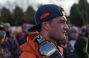Jeffrey Herlings waits to take the top step of the podium after Sunday's Superfinal.
