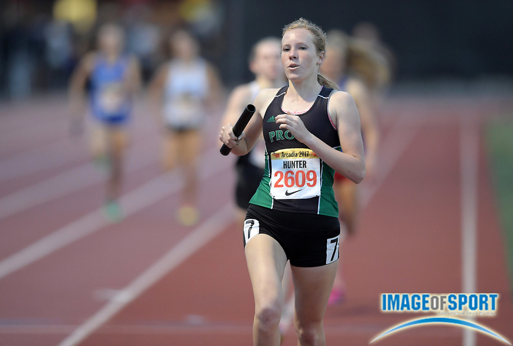 Apr 7, 2017; Arcadia, CA, USA; Kate Hunter (2609) runs the 800m anchor leg on the Provo girls 1,600m sprint medley relay that won in 4:00.29 during the 50th Arcadia Invitational at Arcadia High.