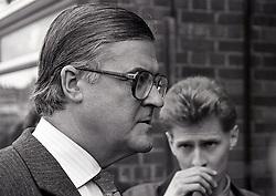 Kenneth Baker MP (Sec State Education), Nottingham UK April 1987