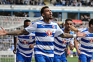 Reading midfielder Daniel Williams celebrates scoring the first goal during the Sky Bet Championship match between Reading and Middlesbrough at the Madejski Stadium, Reading, England on 3 October 2015. Photo by Alan Franklin.