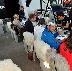 Bruni gives the seafood a thumbs up at the Restaurant Astols Rokeri on the tiny island of Astols. Photo: Chris Davies/WMRT