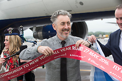 Alan Cumming as Delta launch their new year-round nonstop service from Edinburgh to New York-JFK today at Edinburgh Airport.