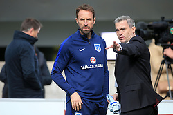 England manager Gareth Southgate (left) and FA head of communications Greg Demetriou during a training session for the media day at St George's Park, Burton upon Trent. Picture date: Monday October 2, 2017. See PA story SOCCER England. Photo credit should read: Nick Potts/PA Wire.