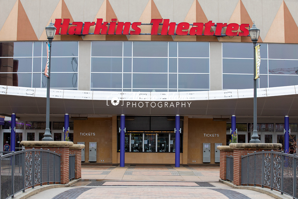 Harkins Theatres in Oklahoma City sits closed on Wednesday, March 18, 2020 after an ordinance by Oklahoma Citry Mayor David Holt to close all theaters, bars, clubs and restaurants in efforts to slow the spread of COVID-19 in Oklahoma City. Photo copyright © 2020 Alonzo J. Adams.