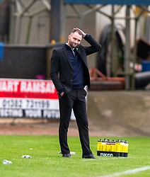 Dundee manager James McPake after Partick Thistle's second goal. Dundee 1 v 3 Partick Thistle, Scottish Championship game player 19/10/2019 at Dundee stadium Dens Park.