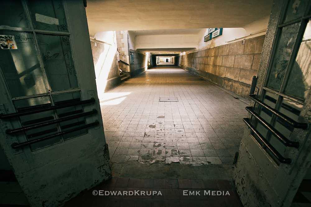 Underground passage in the train station of Zagan, Poland,