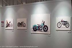 The art of Cory Jarman on display in the Old Iron - Young Blood exhibition in the Motorcycles as Art gallery at the Buffalo Chip during the annual Sturgis Black Hills Motorcycle Rally. Sturgis, SD. USA. Tuesday August 8, 2017. Photography ©2017 Michael Lichter.